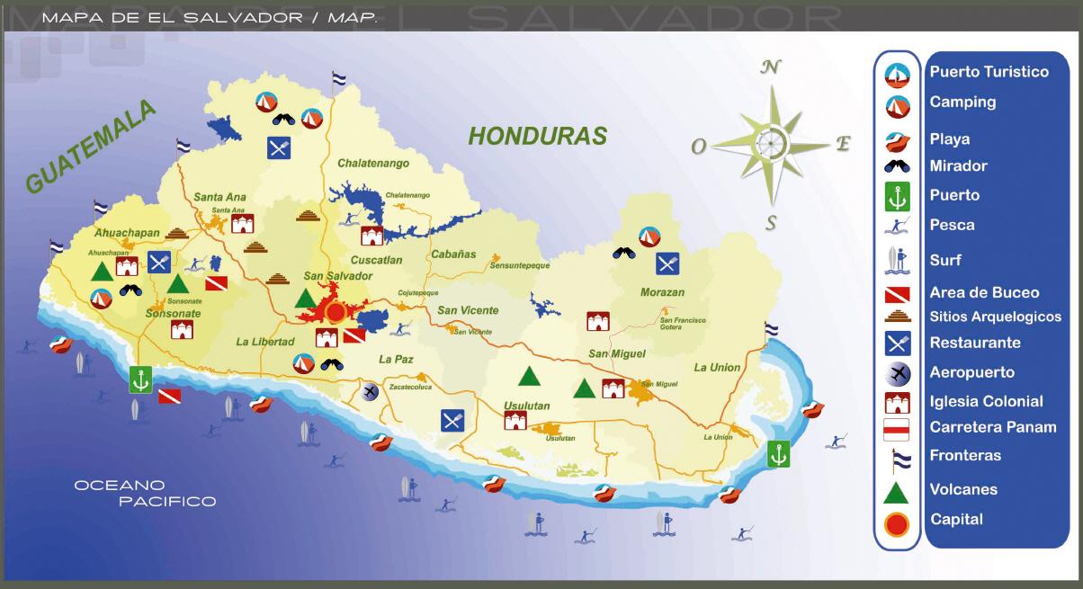 Mapa de El Salvador El Salvador Turismo Grayline El Salvador